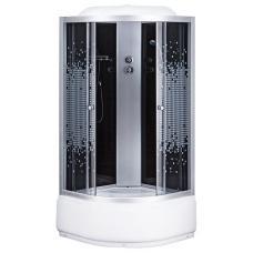 Фото -Гидробоксы - Гидробоксы Душевая кабина Sansa 9900A, 100 х 100 см, профиль сатин, стекло серое-мозаик, заднее стекло черное