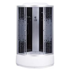 Фото -Гидробоксы - Гидробоксы Душевая кабина Sansa 9900A, 90 х 90 см, профиль сатин, стекло серое-мозаик, заднее стекло черное