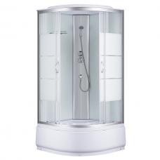 Фото -Гидробоксы - Гидробоксы Душевая кабина Sansa 7790A, 90 x 90 см, профиль сатин, стекло прозрачное-lines, заднее стекло белое